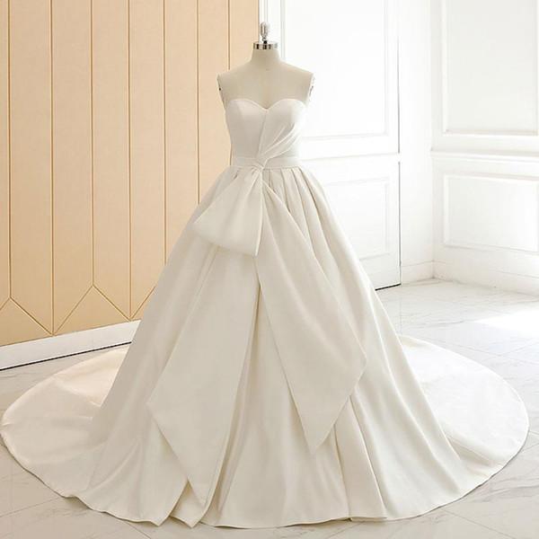 2020 elegantes vestidos sin tirantes con cordones Vestidos de Novia sin respaldo arco plisado una línea de vestidos de novia largos vestidos de novia Robe De Marriage
