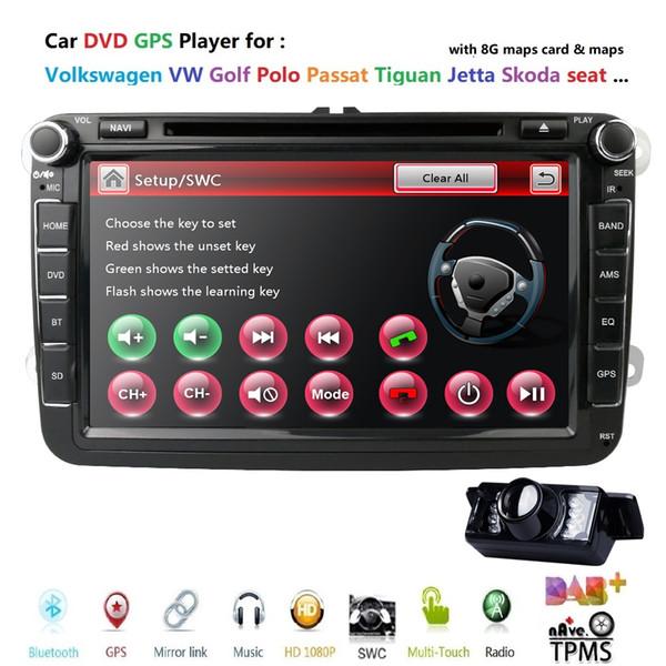 """8"""" 2 din Car DVD for Volkswagen VW golf 4 5 6 touran passat B6 sharan jetta caddy transporter t5 polo tiguan with gps card"""