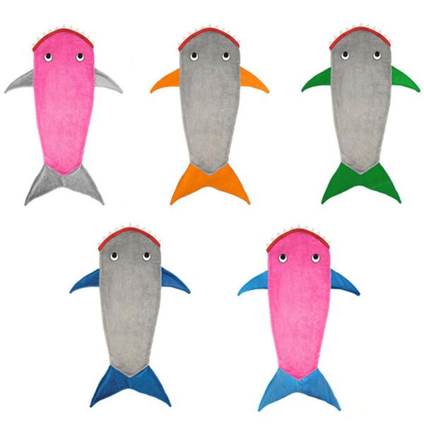 Doppelschicht Weiche Fleece Shark Meerjungfrau Schwanz Decke Kinder / Kinder Meerjungfrau Decke Schlafsack Schlafsofa Werfen Für Jungen / Mädchen