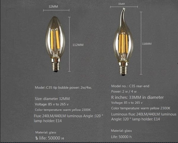 Klassische dimmbare LED Glühlampe High Power Glaskugel 110V 220V 240V Retro LED Edison Lampe KerzenlichtGlas Lampenschirm