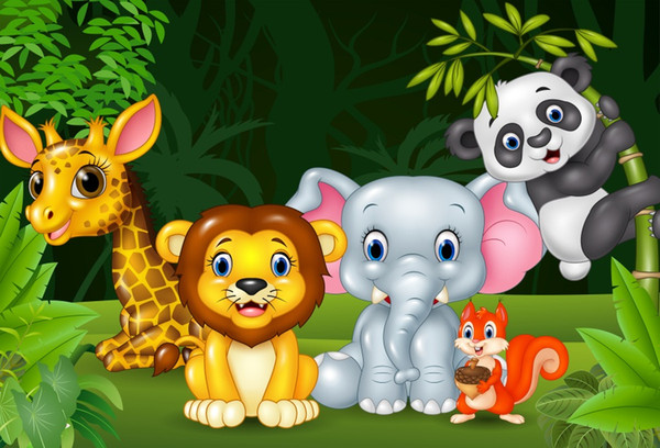 Laeacco Cartoon Forest Animals Jungel Safari Baby Birthday Party Photo Backdrop Photographic Background Photocall Photo Studio