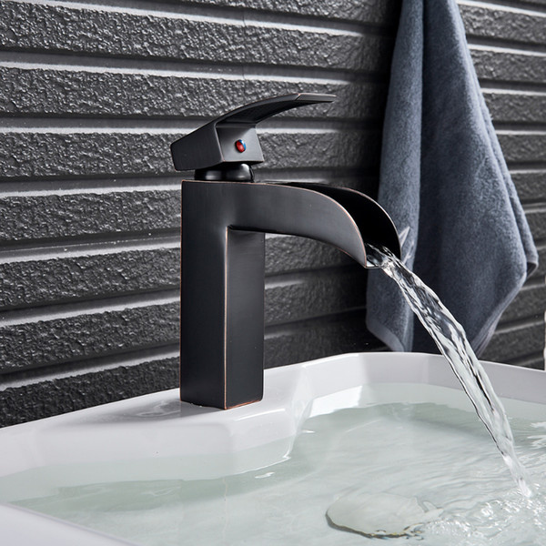 deck mounted bathroom basin sink faucet black bronze waterfall sink mixer tap single hole cold & mixer tap