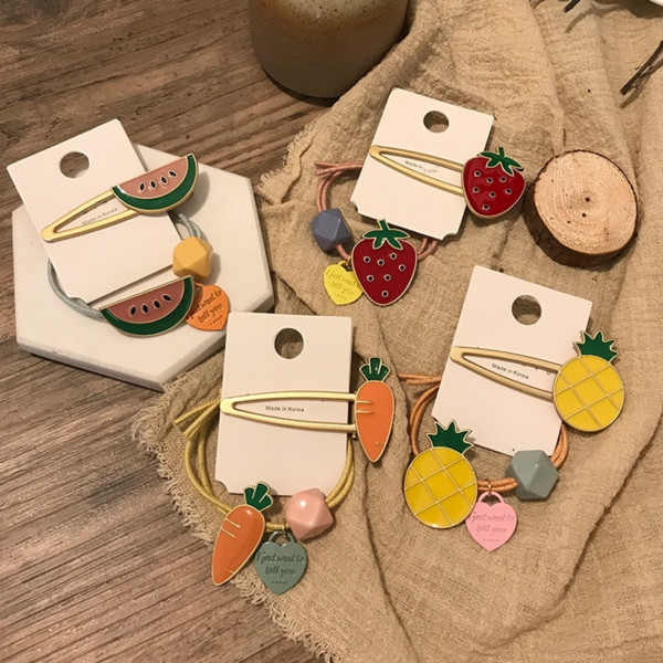 best selling Creative cartoon ins elegant Fruit b accessories women's sweet and lovely alloy fruit children's hair clip hair band set