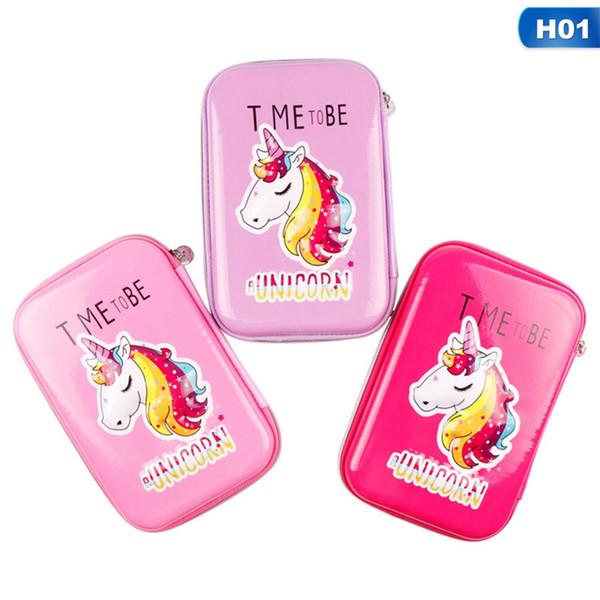 Acheter 1 Pièce Mignon Dessin Animé Licorne Flamingo Eva Sac à Crayons étui à Crayons Kawaii Grande Capacité Stylo Boîte Pour Garçon Filles Cadeau