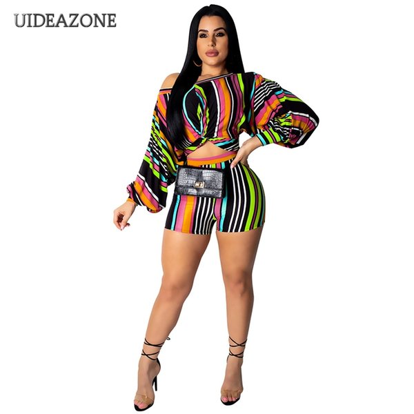 Color Block Two Piece Set Sexy Ladies Costumes One Side Off Shoulder Long Sleeve Top And Slim Shorts Suit 2 Piece Club Outfits