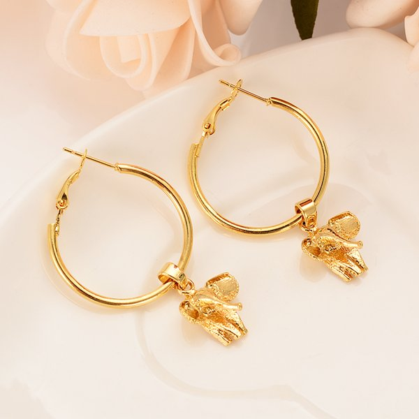 Personalized girl-boy favorite gold elephant metal earrings wedding banquet party essential jewelry the best gift