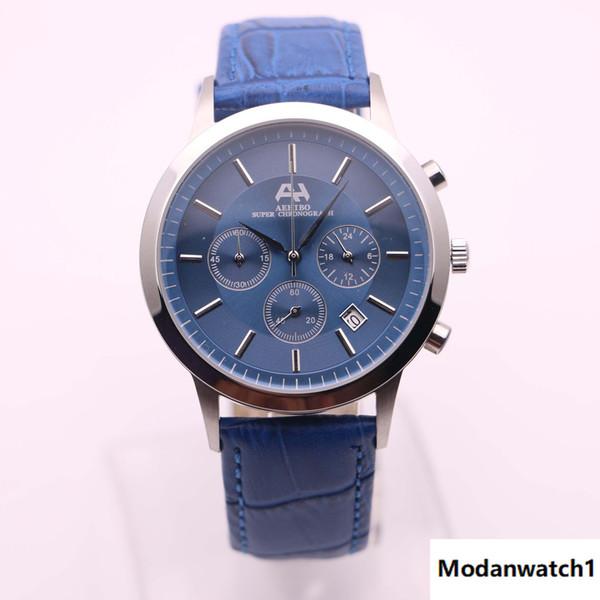 7 tipi 2017 nuovo marchio AEHIBO orologi uomo quadrante blu cassa argento orologio in pelle blu quarzo VK meccanico super cronografo orologio da uomo