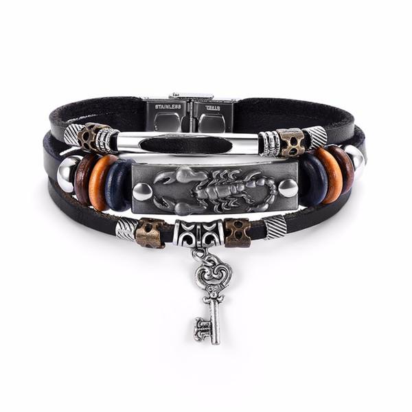 Transmettre l'amour transmettre l'amour bracelet / bracelet pour homme en cuir PU cordon tressé perlé chaîne en forme de coeur clé pendentif bracelet cadeau