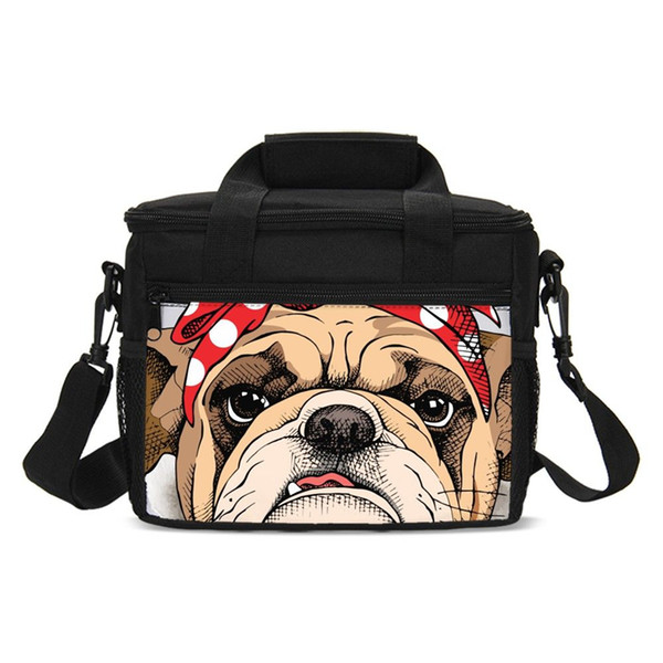 43e98bad4800 Cute Bulldog Print Kids Storage Picnic Bags Portable Lunch Case Thermal  Insulated Lunch Box Women Tote Cooler Bag Container College Backpacks Girl  ...