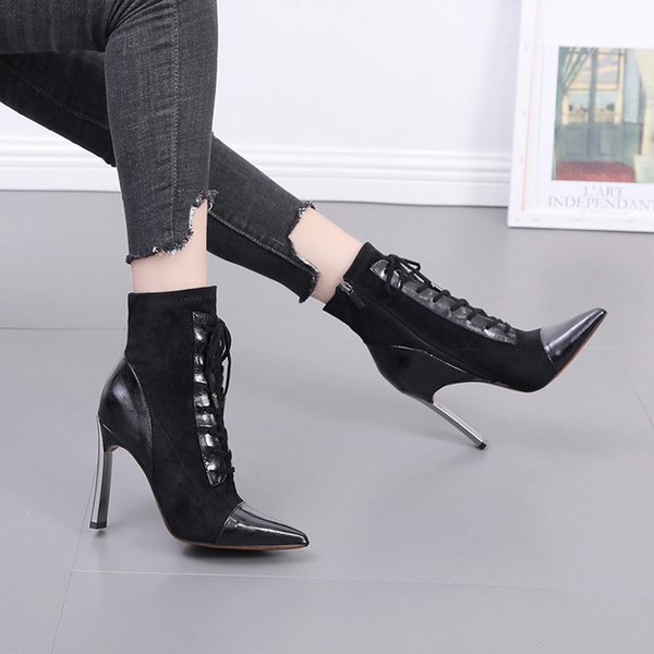 Women High Heel Stiletto Ankle Boots Pointed Toe Elegant Pu Leather Shoes Zsell
