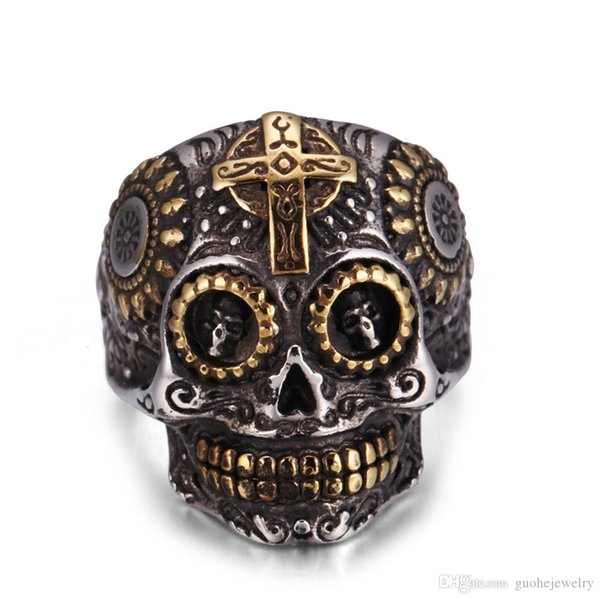 Good quality stainless steel rings Punk Cross Skulls Rifles Rings Retro Men's hip hop jewelry free shipping