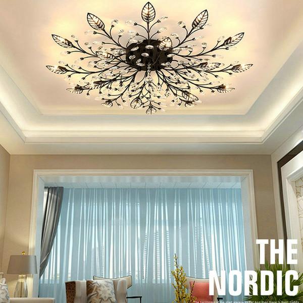 2019 2020 Modern Flush Mount Home Gold Black Led K9 Crystal Ceiling Chandelier Lights Fixture For Living Room Bedroom Kitchen Lamps From Jess234