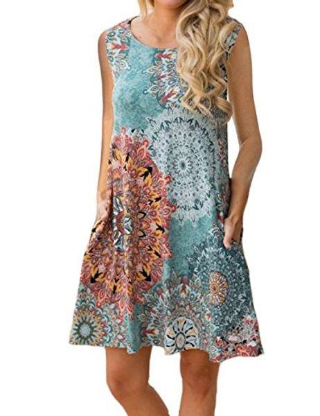 4c61e933556 Sanifer Women's 3/4 Sleeve Floral Printed Tunic Dresses Long Shirts Blouses  Tunic Tops for Leggings