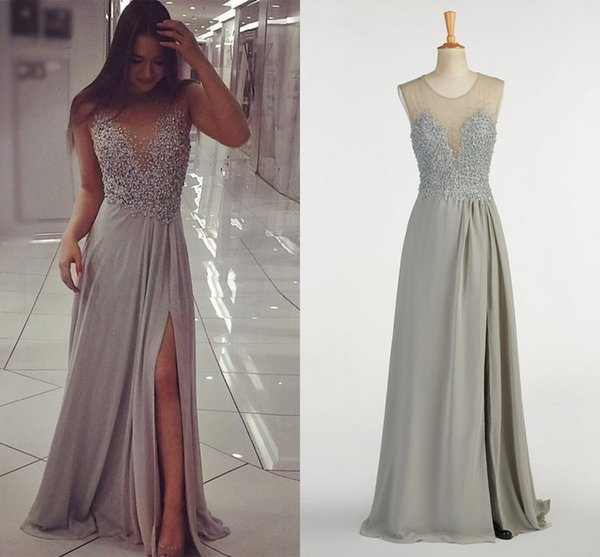 Sliver Pearls Chiffon Long Evening Gowns Sheer Neck Hollow Back Side Slits Beaded Applique Real Photo Cheap Prom Formal Dresses