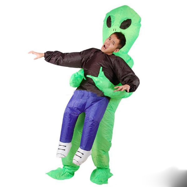 2019 High quality Inflatable Monster Costume Scary Green Alien dinosaur Mascot Costume for Adult animal Halloween Purim Party