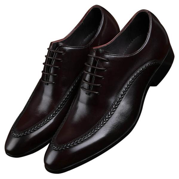 CLORISRUO Nuevo Negro / Marrón Zapatos sociales formales Zapatos de vestir para hombre Cuero genuino Negocio Derby Hombre Novio de boda