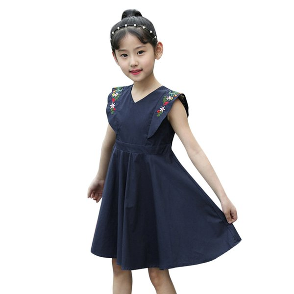 Girls Dress Vestidos Embroidery Summer Flower Princess Kids Dresses Casual For Party Wedding Girls Baby Clothes Toddler 19Jan23