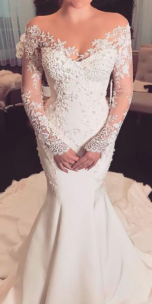 top popular Mermaid Wedding Dresses 2019 robe de mariee Sheer Vintage Lace Long Sleeve Wedding Dress Bridal Gowns vestidos de noiva Bride Formal Gown 2020
