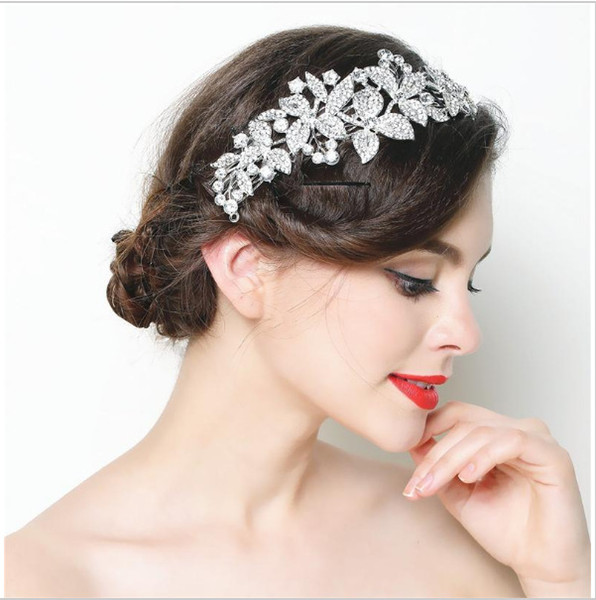 New Design Fairy Floral Bridal Hair Comb Luxury Elegant Crsytal Rhinestone Wedding Party Hair Accessory Free Shipping Formal Event Headpiece