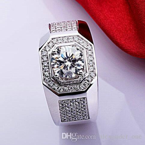 Anillo de diamantes de circón de piedras preciosas de plata esterlina 925 para hombres Joyería vintage CZ Anel Masculino Joias Compromiso Anillos de boda
