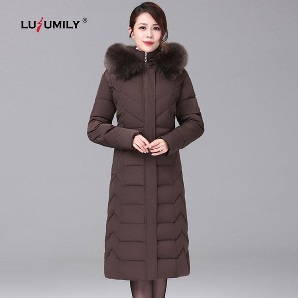 Lusumily Long Warm Thick Jacket Female Winter Women Chaqueta Mujer Cotton Coat Wadded Down Outwear Jackets Plus Size 6XL Parkas