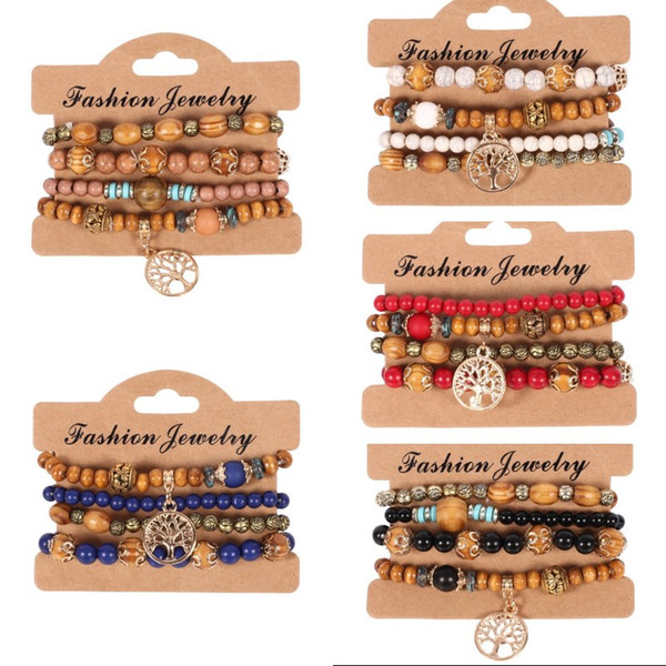 201908 4pcs/set Ethnic Bohemian Wood Beads Bracelet Fashion Tree Of Life Pendant Multilayer Bracelets For Women Jewelry 6 Styles G427Q F