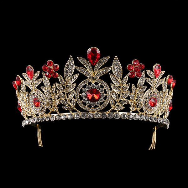 Luxury European Blue Red Crystal Tiaras Leaf Vintage Gold Rhinestone Pageant Crowns With Comb Baroque Wedding Hair Accessories C18112001