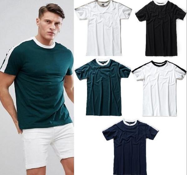 Fashion Streetwear designer vintage bieber stripe O-neck men' t shirts summer Casual Hip Hop High Street Couple cotton Tees polo shirts