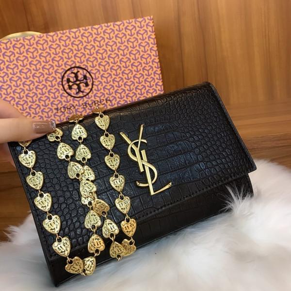 Designer ladies single shoulder heart chain messenger bag Crocodile pattern Metal decorative ladies bag size 24.19