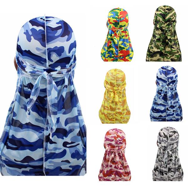 Men Silk Durag Turban Headwear Props Waves Rags Men's Hair Cover Camo Print Silky Durags Bandana Hair Accessory Pirate Role Hat
