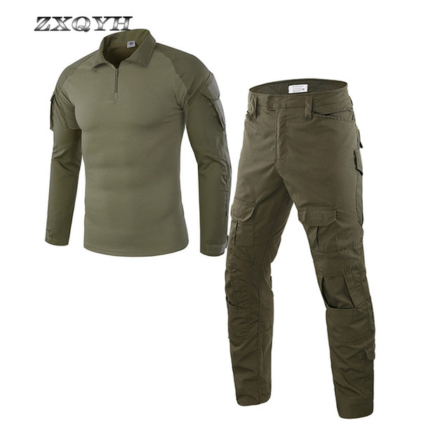 ZXQYH Tactical Uniform T-shirts Pants Suits Combat Army Sport Sets Outdoor Hiking Hunting Shooting Uniforms