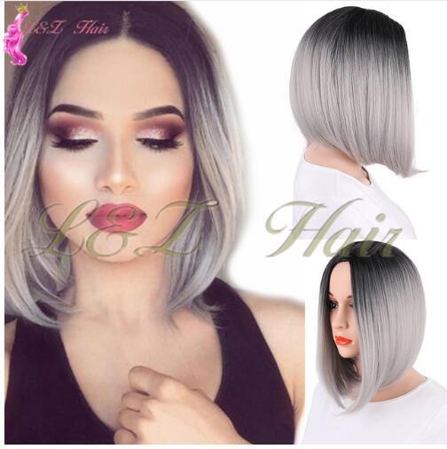 Peluca delantera de encaje sintético 12 pulgadas de pelo largo y recto estilo ombre peluca BOB negro marrón rubio rosado peluca para las mujeres