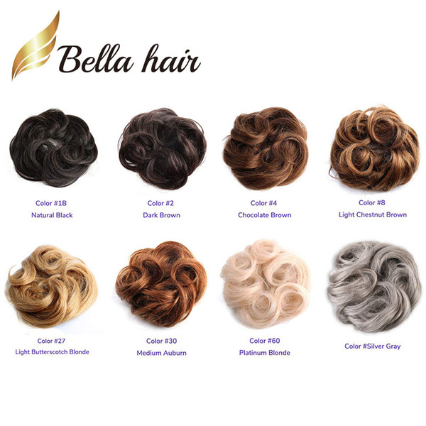 Bella Hair® 100% Real Human Hair Scrunchie Bun Up Do Hair Pieces Wavy Curly or Messy Ponytail Extension (#nc#4#8#27#30#60#silver grey)