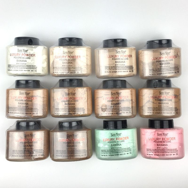 NEW ARRIVAL high quality Ben Nye LUCURY Powder Banana powder 1.5OZ with 12 different colors face powder makeup 120 PCS/lot DHL free