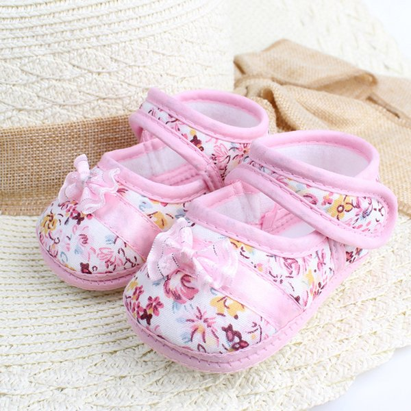 Baby Cloth Sandals shoes Girl Soft Sole Bowknot Print Anti-slip Casual Shoes Toddler Sandals garden cotton Cloth