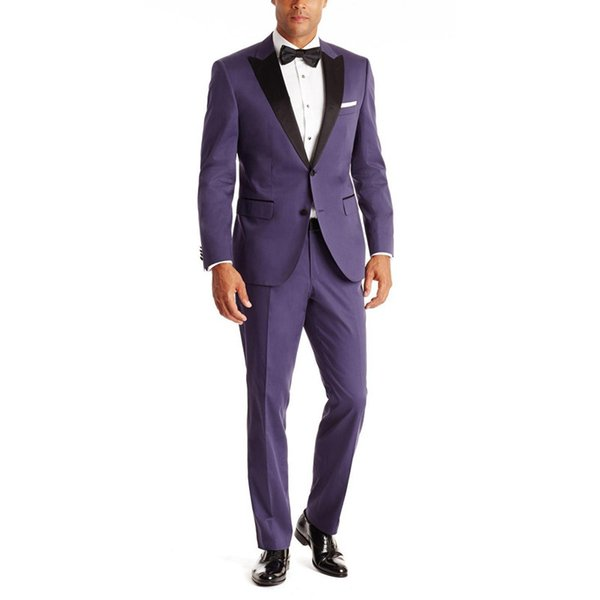 New Arrival Purple Grooms Tuxedos Black Satin Peaked Lapel Wedding Suits For Men Two Piece Mens Suits Two Button Groomsmen Suit