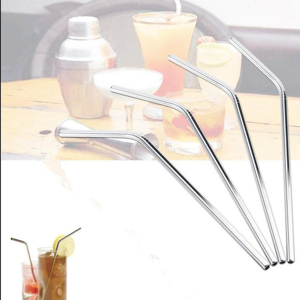 best selling Bent Stainless Steel Straw drinking straw Reusable Straws Metal Drinking Straw Bar Drinks Party wine straws 6MM*0.5*215 1600pcs