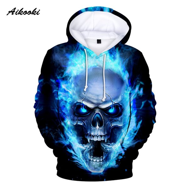 Aikooki Hot 3D Skull Hoodies Felpe con cappuccio da uomo / donna Stampa 3D Blue Fire Design Skull Hooded Boys / Girls Polluvers Autumn Tops