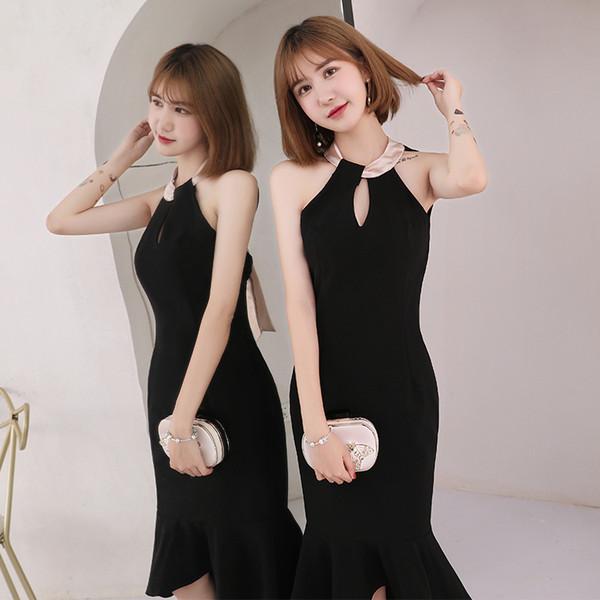 New black mid calft 110cm mermaid sexy lady girl women princess bridesmaid banquet party ball dress