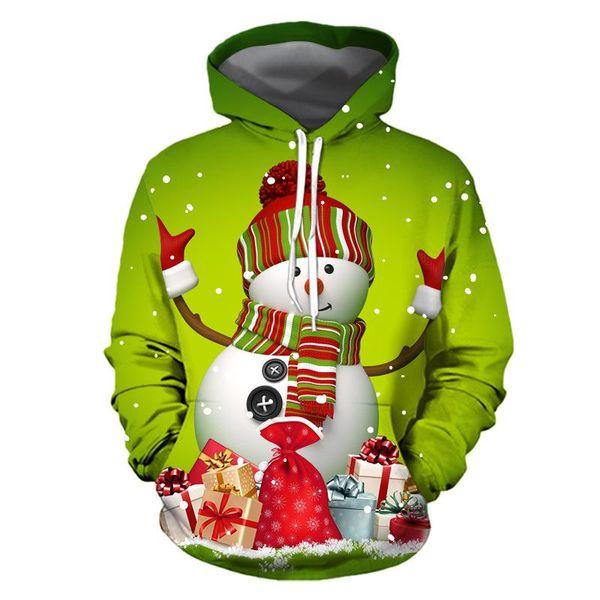 New High Quality Men Women Christmas Hoodies Snowman 3d Printed Hooded Sweatshirt Couple Hooded Streetwear Size S-3xl Free Shipping
