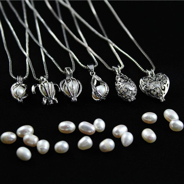 Pearl Necklace Hot Sale Natural Freshwater Oyster Pearl Necklace DIY Cage Pendant Accessories for Women Fashion Jewerly Wholesale 0031WH