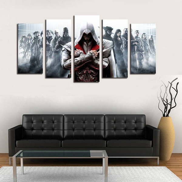 5pcs/set Unframed Assassin's Game Poster Wall Art Oil Painting On Canvas Fashion Textured Abstract Paintings Picture Living Room