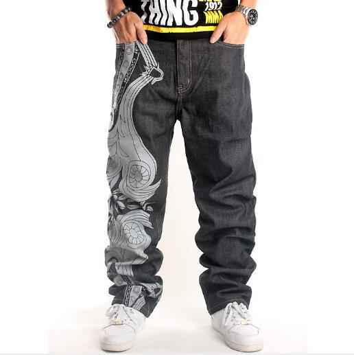luxury mens designer jean trend hip hop graffiti jeans popular street dance straight pant embroidery skateboard loose pants large size pant