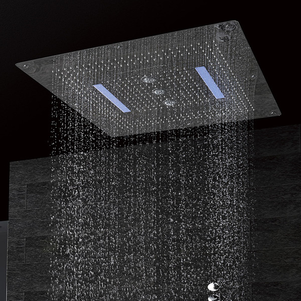 LED ceiling Shower Head made of SUS304 large size 800x800mm four functions rainfall waterfall swirl curtain DF5424