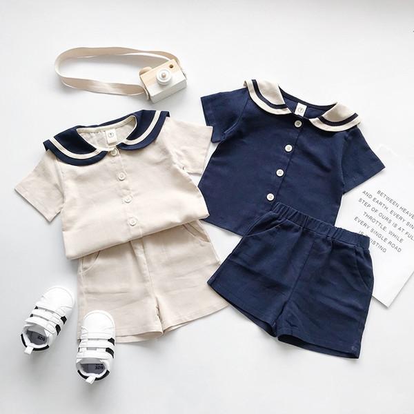 INS Toddler Kids Boys CLothing Suits Turn-down Sailor Collar Beige Blue Colors Front Button Tshirts + Pants 2pcs Set Children Boys Clothes