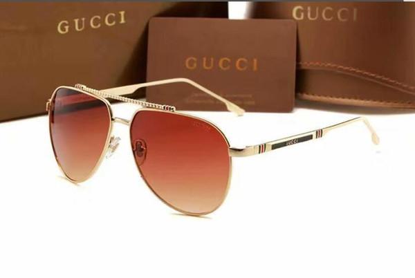 NEGRO Gafas de sol polarizadas Piloto Gafas de sol de conductor con lente polaroid espejo para hombres y mujeres con caja marrón y caja XXLGUCCI