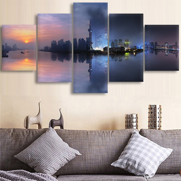 Canvas Posters Home Decor Wall Art Framework 5 Pieces Fantasy Shanghai City Paintings For Living Room