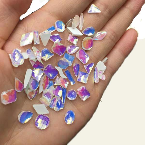 500pcs gros cristaux strass cristal ongles en verre incandescent dans la nuit marquise gemmes colorées 3D Nail Art décorations