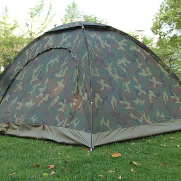 1-4 Personne Portable Camouflage Outdoor Camping Tente imperméable et respirante Pare-soleil ultraviolet épreuve Tente pour la randonnée en plein air