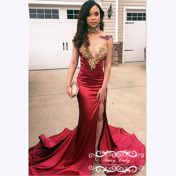 Exquisite Appliques Beads Mermaid Prom Dresses For Women 2019 Corset Back Red Long Chapel Train Evening Dress Party Gown